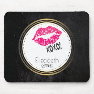 xoxoのKissyの魅力的なピンクの唇! 名前入り マウスパッド