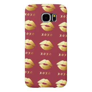 XOXOは流行の金唇を搭載するキス愛を抱き締めます SAMSUNG GALAXY S6 ケース