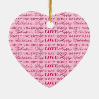 XOXO愛ハッピーバレンタインデーのピンクのプリントのギフト セラミックオーナメント