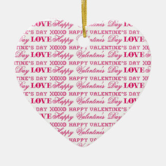 XOXO愛ハッピーバレンタインデーのピンクの赤のギフト セラミックオーナメント