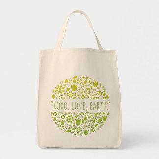 """XOXO。 愛、地球""。 幸せな地球の再使用可能な食料雑貨 トートバッグ"
