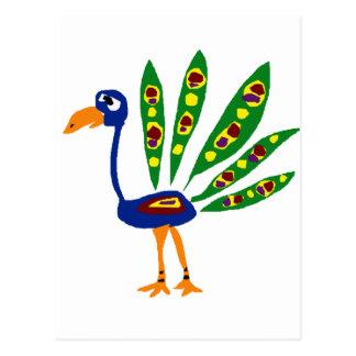 XXおもしろいな孔雀の原住民の芸術 ポストカード