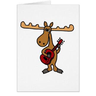 XXギターの漫画を遊んでいるおもしろいなアメリカヘラジカ グリーティングカード