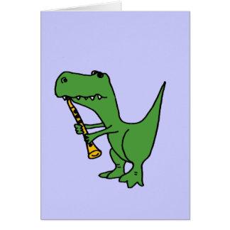 XXクラリネットを遊んでいる笑わされるなTレックスの恐竜 グリーティングカード