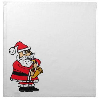 XXサクソフォーンのクリスマスを遊んでいるサンタクロース ナプキンクロス