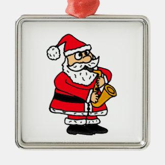 XXサクソフォーンのクリスマスを遊んでいるサンタクロース メタルオーナメント
