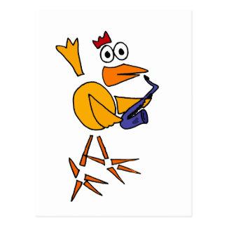 XXサクソフォーンの抽象美術を遊んでいるおもしろいな鶏 ポストカード