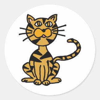 XXストライプのな猫の漫画 ラウンドシール