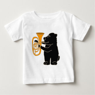 XXテューバを遊んでいるツキノワグマ ベビーTシャツ