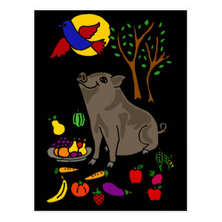 XXポットによって膨らまされるブタおよびフルーツの民芸のデザイン ポストカード