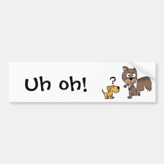 XX小犬は巨大なリスの漫画に会います バンパーステッカー