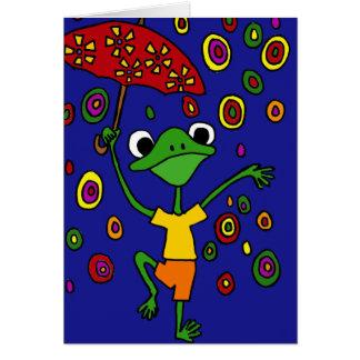 XX雨の見事なカエルの踊り グリーティングカード