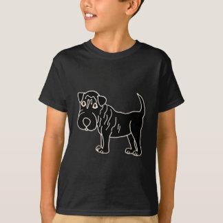 XX黒いShar Pei犬の漫画 Tシャツ
