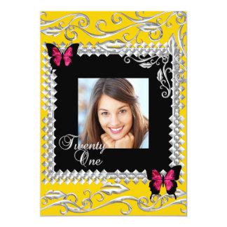 Yの第21誕生会のピンクの黒の蝶 カード