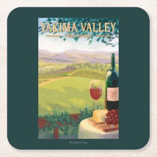 Yakimaの谷、WashingtonWineの国 スクエアペーパーコースター