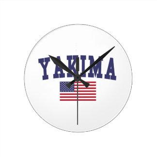 Yakima米国の旗 ラウンド壁時計