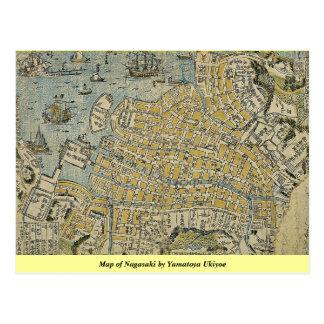 Yamatoyaの浮世絵による長崎の地図 ポストカード