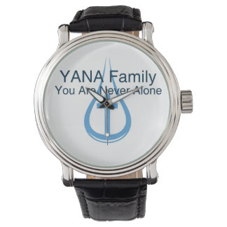 YANAの男性か女性の黒いヴィンテージの革バンド 腕時計