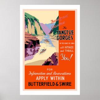 Yangtszeの峡谷のヴィンテージ旅行ポスター ポスター