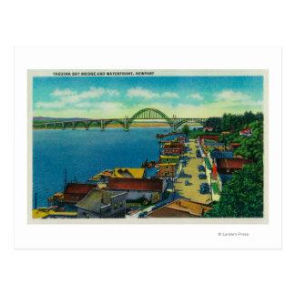 Yaquina湾橋および水辺地帯ニューポート、または ポストカード