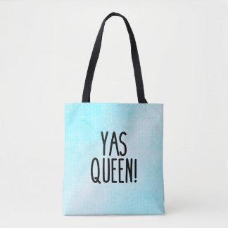 Yasの女王! 青および白いハーフトーンパターントート トートバッグ