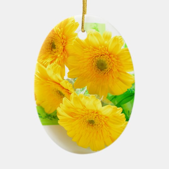 yellow Gerbera flowers セラミックオーナメント