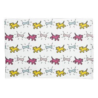 Yellow Pink Dogs B Bones Graffiti Style Pillowcase 枕カバー