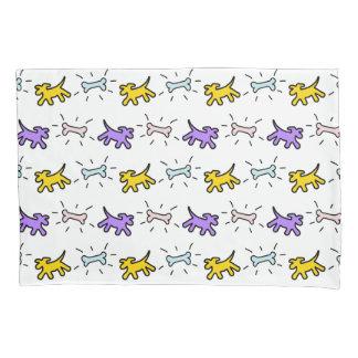 Yellow Purple Dogs Bones Graffiti Style Pillowcase 枕カバー
