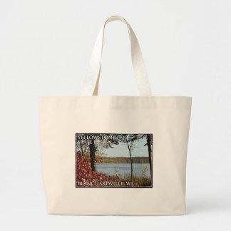 yellowstone湖の州立公園のロゴ ラージトートバッグ