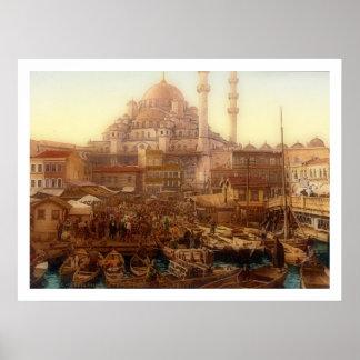 Yeni CamiのモスクおよびEminönüのバザー-イスタンブール ポスター