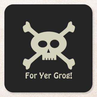 """""""Yerのグログ""""ののための海賊スカルカスタムな円形のコースター スクエアペーパーコースター"""