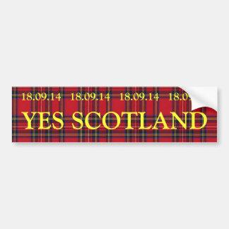Yesのスコットランド18.09.14のタータンチェックのバンパーステッカー バンパーステッカー