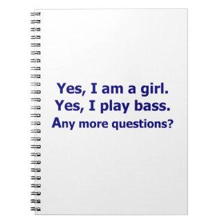 Yes私は女の子の文字の濃紺演劇の低音だけです ノートブック