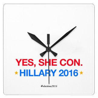 yes、彼女は騙します。 ヒラリー2016年 スクエア壁時計
