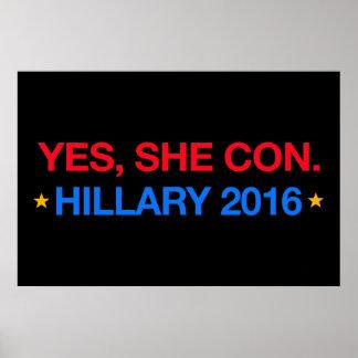 yes、彼女は騙します。 ヒラリー2016年 ポスター