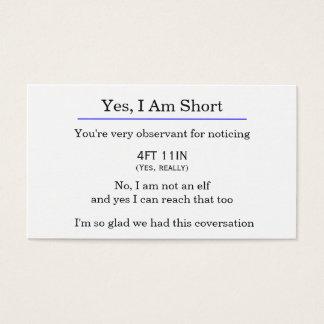 """""""Yes、私は短い""""カードです 名刺"""