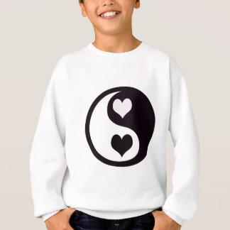 Yingおよびヤンの白黒ハート スウェットシャツ