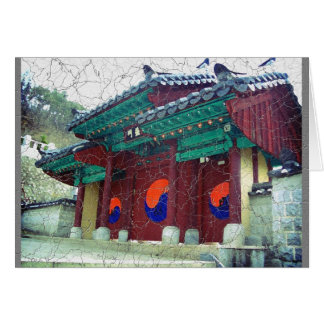 Yingヤンが付いている仏教寺院のドア南朝鮮 カード