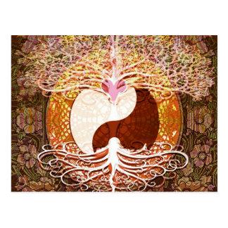 Yingヤンのハートの生命の樹 ポストカード
