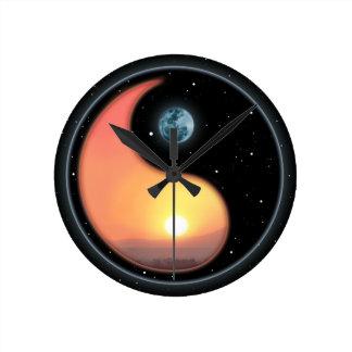 Yingヤンの日没 ラウンド壁時計