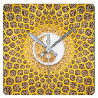 Ying黄色いヤンの曼荼羅 スクエア壁時計
