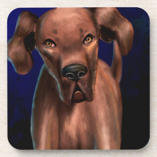 Yoを直接見ているブラウン大きい犬の絵画 コースター