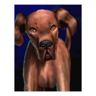 Yoを直接見ているブラウン大きい犬の絵画 レターヘッド