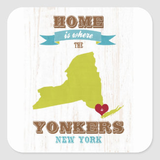 Yonkersのニューヨークの地図-ハートがあるところでがあります家 スクエアシール