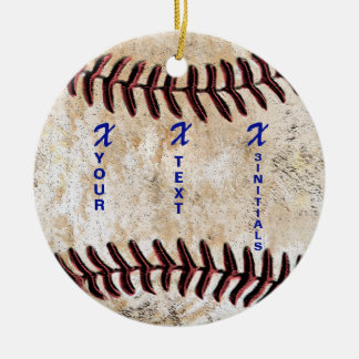 YOUR INITIALS with NAME Unique Baseball Ornament セラミックオーナメント