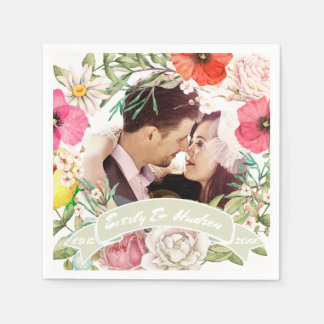 Your Photo Pink Red Yellow Rose Wedding Wreath スタンダードカクテルナプキン