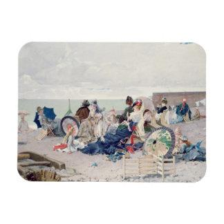 Yport 1878年のビーチ(キャンバスの油) マグネット