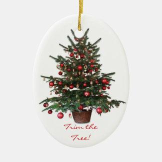 Yuletideの木のクリスマスの楕円形のオーナメント セラミックオーナメント
