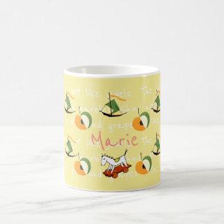 "YUMEJI Apple Name mug ""夢二""名前いり マグカップ 林檎,船,木馬 コーヒーマグカップ"