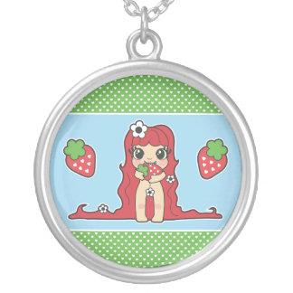 Yumiの人形-いちご シルバープレートネックレス